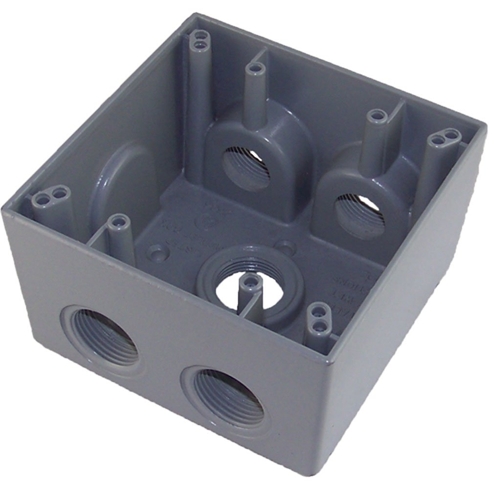 Made in USA Weatherproof Electrical Outlet Box (5) 3/4'' Holes - Gray