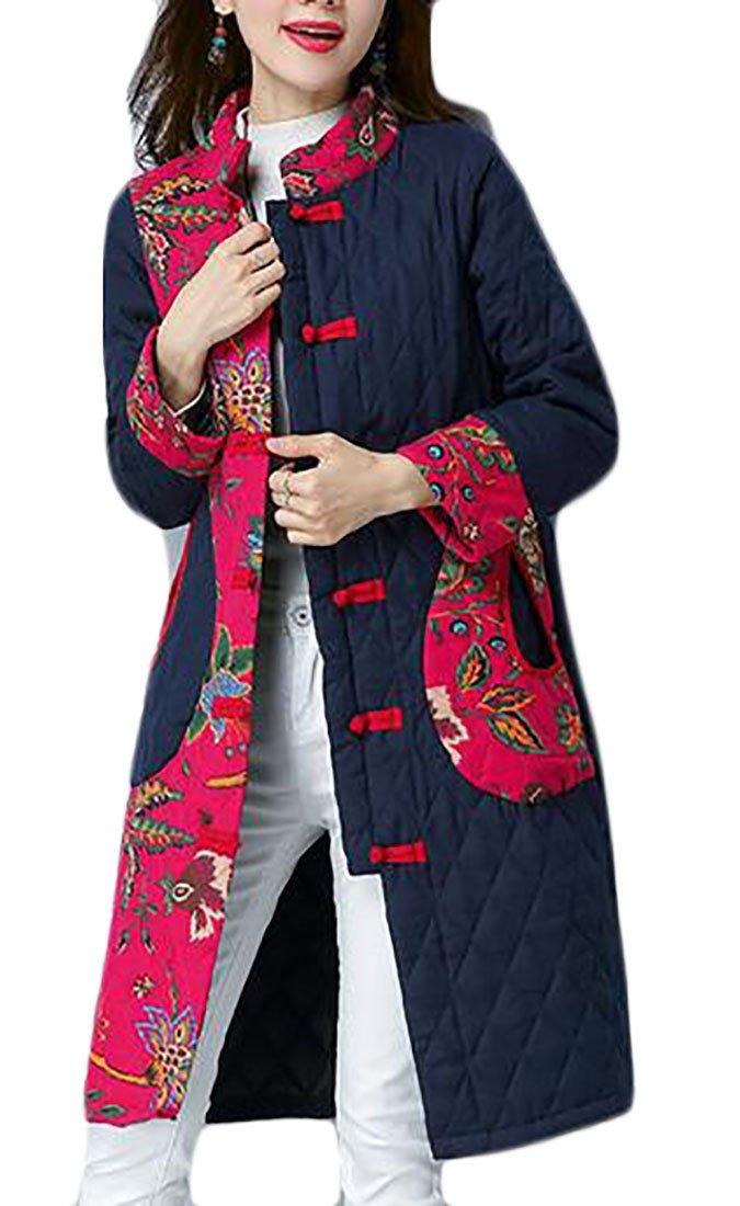 ONTBYB Women's Long Sleeve Thicken Warm Chinese Style Ethnic Style Down Coat Navy Blue XS