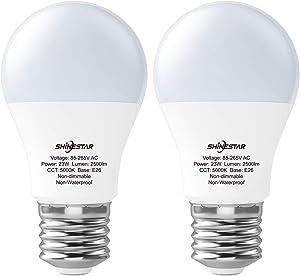 SHINESTAR 2-Pack A21 LED Light Bulbs 150 Watt Equivalent, 5000K Daylight LED Light Bulb 23W, E26 LED Bulb, Non-dimmable, Not-Intelligent