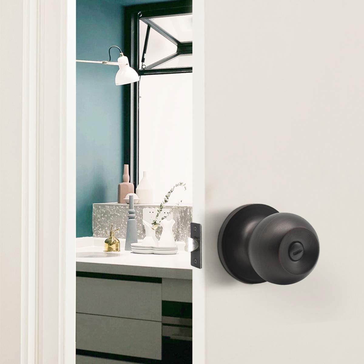 dormitorio Pomo de puerta de bronce aceitado con bola de privacidad manija de seguridad interior para trastero ba/ño 607 pomo de puerta de acero s/ólido
