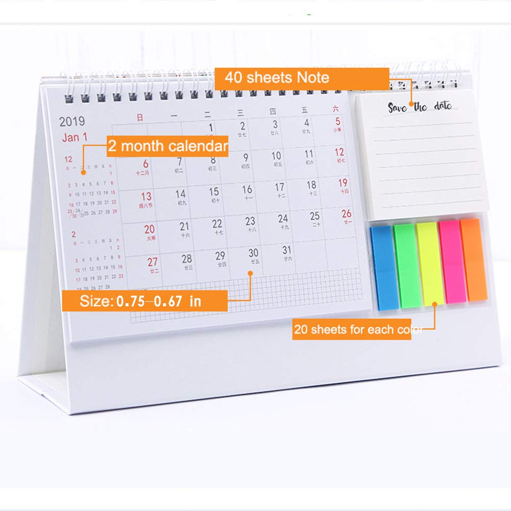 Amazon.com : Olpchee Plastic Rack 2019-2020 Desk Calendar ...