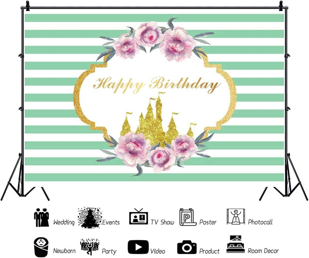 Yeele Happy Birthday Backdrop 10x6.5ft Girl Boy Party Photography Background Adults Gentleman Lady Portraits Golden Castle Green Stripes Party Decoration Room Decor Photo Booth Props