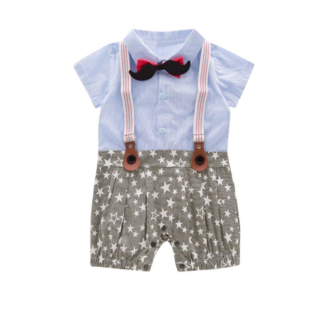 Lurryly Infant Baby Boy Gentleman Bowtie Romper Short Sleeve Star Print Clothes 6-24 M
