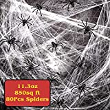 SuMile Spider Webs Halloween Decorations Super Stretch Cobwebs Halloween with 80Pcs Spiders for Halloween Indoor and Outdoor Decors, 11.3 oz 850 sq ft