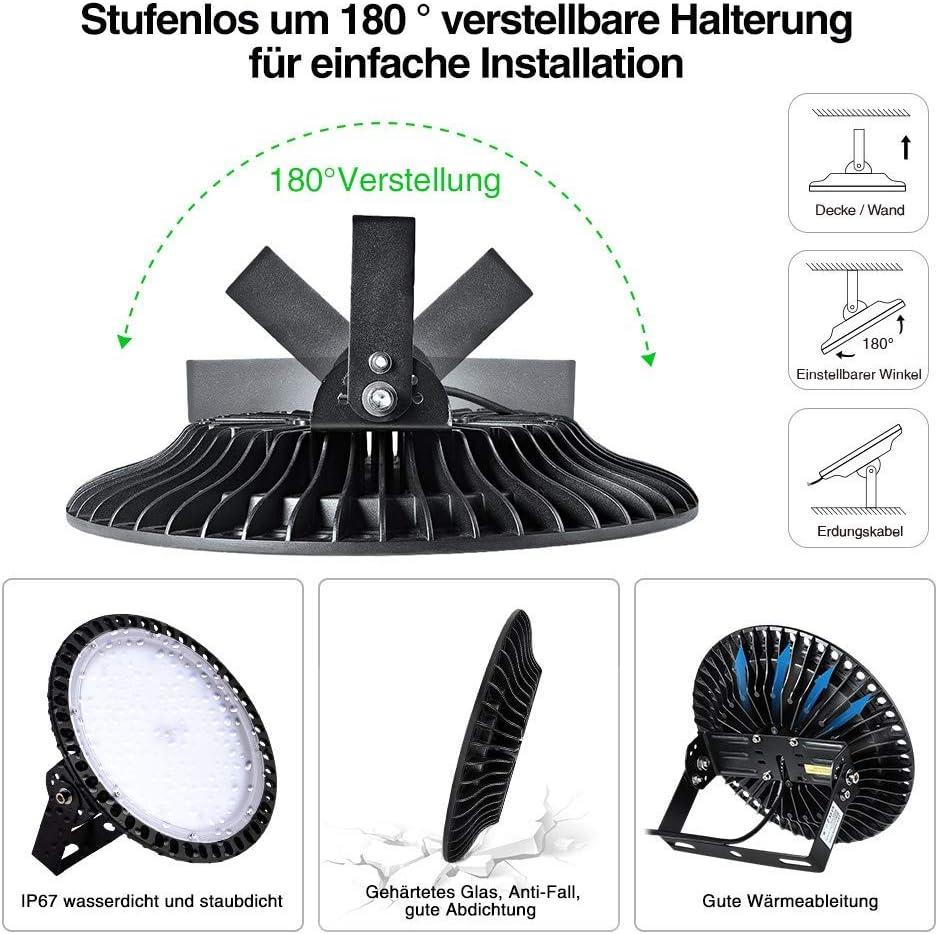 300W Industrielampe Gighlofe LED UFO Hallenstrahler Industrial Kronleuchter 39000LM K/ühles Wei/ß IP67 Industrielampe Hallenstrahler Hallenleuchte Deckenleuchte Hallenbeleuchtung Werkstattbeleuchtung