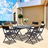 Outsunny 7PC Rattan Dining Set 6 Folding Chair Polywood Top Dining Table Outdoor Patio Lawn Garden Wicker Furniture - Brown