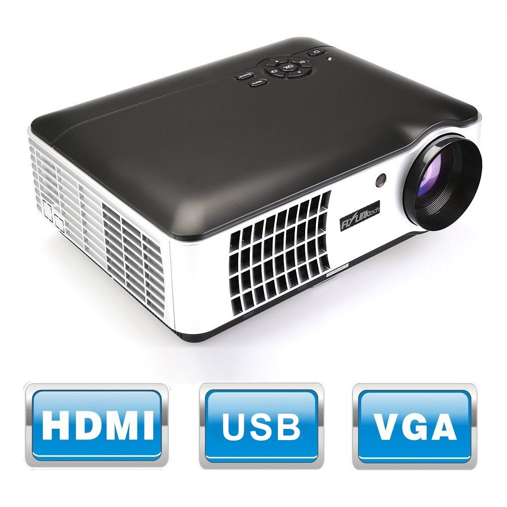 Flylinktech RD-806 2800 Lumens Movie Projector Video Led Projector, Support 1080P HD for Home Theater Cinema Projector Small Business Presentation Game TV Movie (Black)