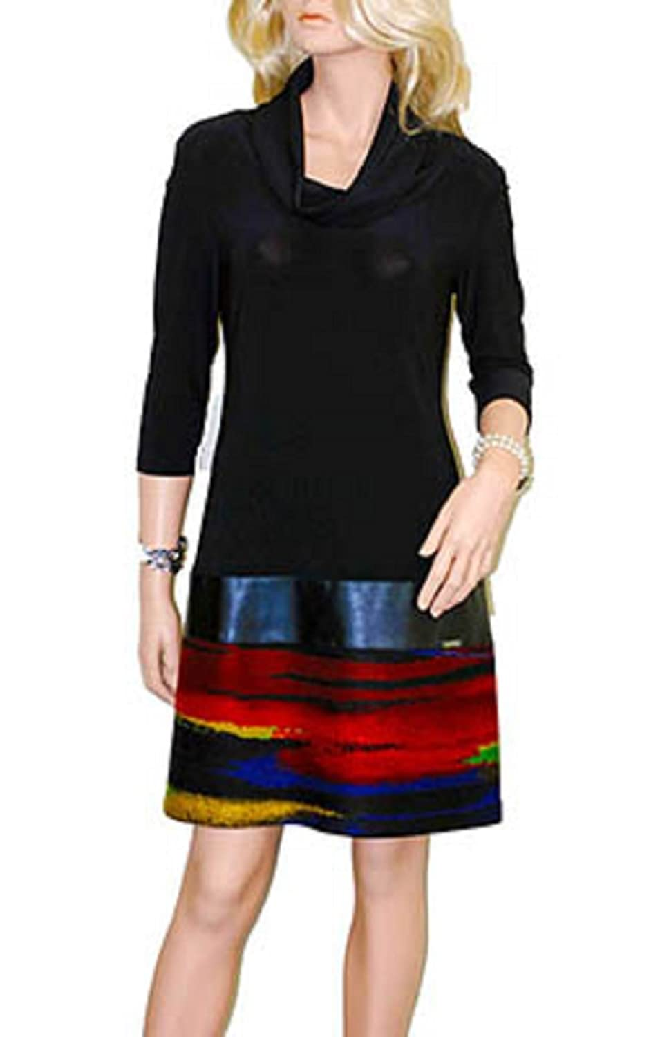 Joseph Ribkoff Jersey, Faux Leather and Knit Cowl Neck Dress Style #163668 at Amazon Womens Clothing store: