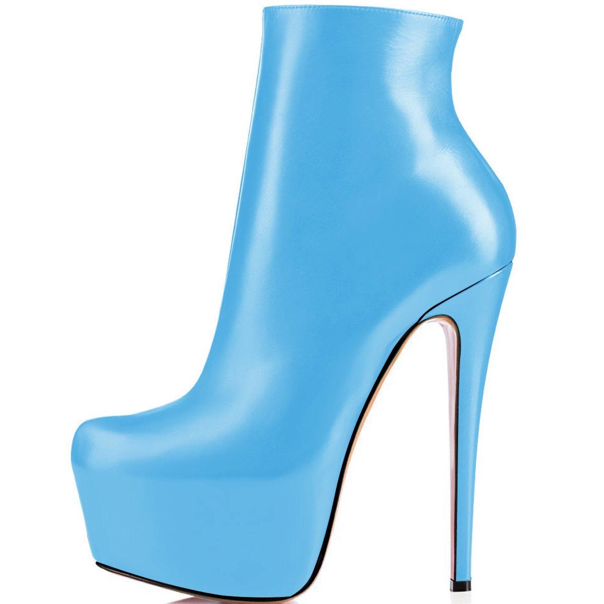 ELASHE Ankle Boots | 15cmTrendige Damen Stiefeletten | Plateau Stiefel mit Absatz37 EU|Blau
