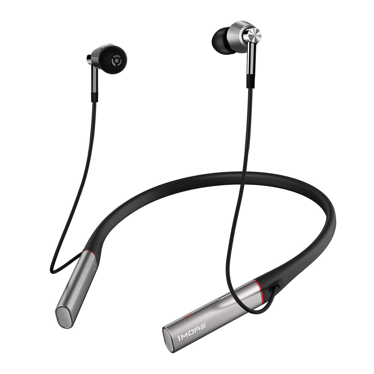 1MORE Triple Driver BT in-Ear Headphones Bluetooth Earphones with Hi-Res LDAC Wireless Sound Quality, Environmental Noise Isolation, Fast Charging, Volume Controls with Microphone - Silver by 1MORE