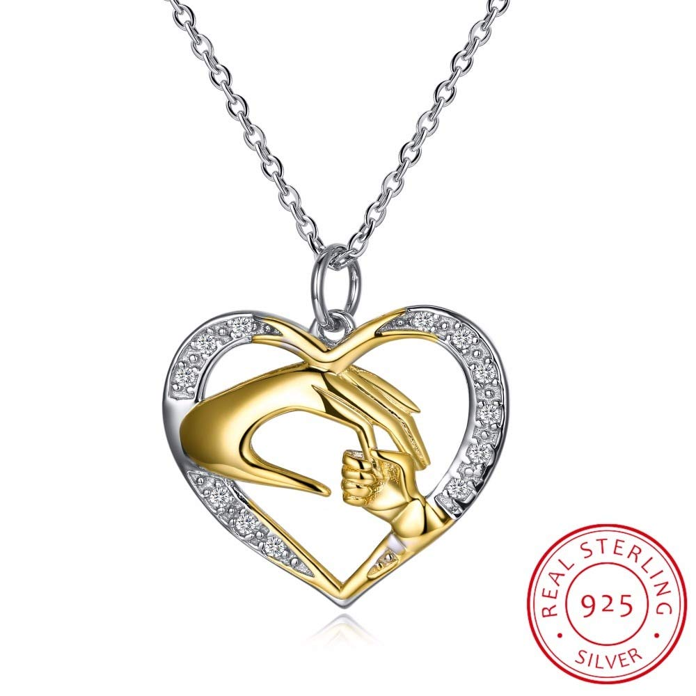 Inveroo 925 Sterling Silver Mother Love Baby Child Rhinestone Big Hand Hold Little Hand Heart Necklace Mom Birthday Gift Fine Jewelry