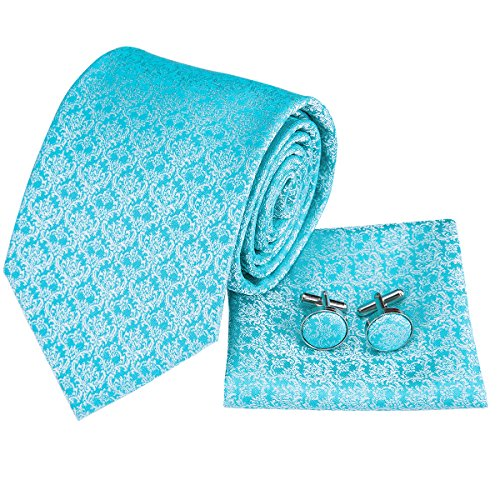 k Check Plaid Tie Necktie with Cufflinks and Pocket Square Tie Set ()