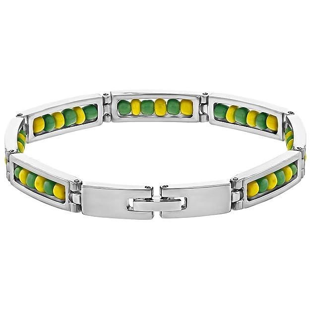 In Season Jewelry - Acero Inoxidable Orula Cuentas Verdes y Amarillas Brazalete Unisex 20cm