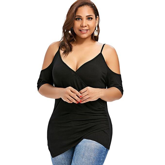 Amazon Dresslily Womens Cold Shoulder Plus Size Cross Front