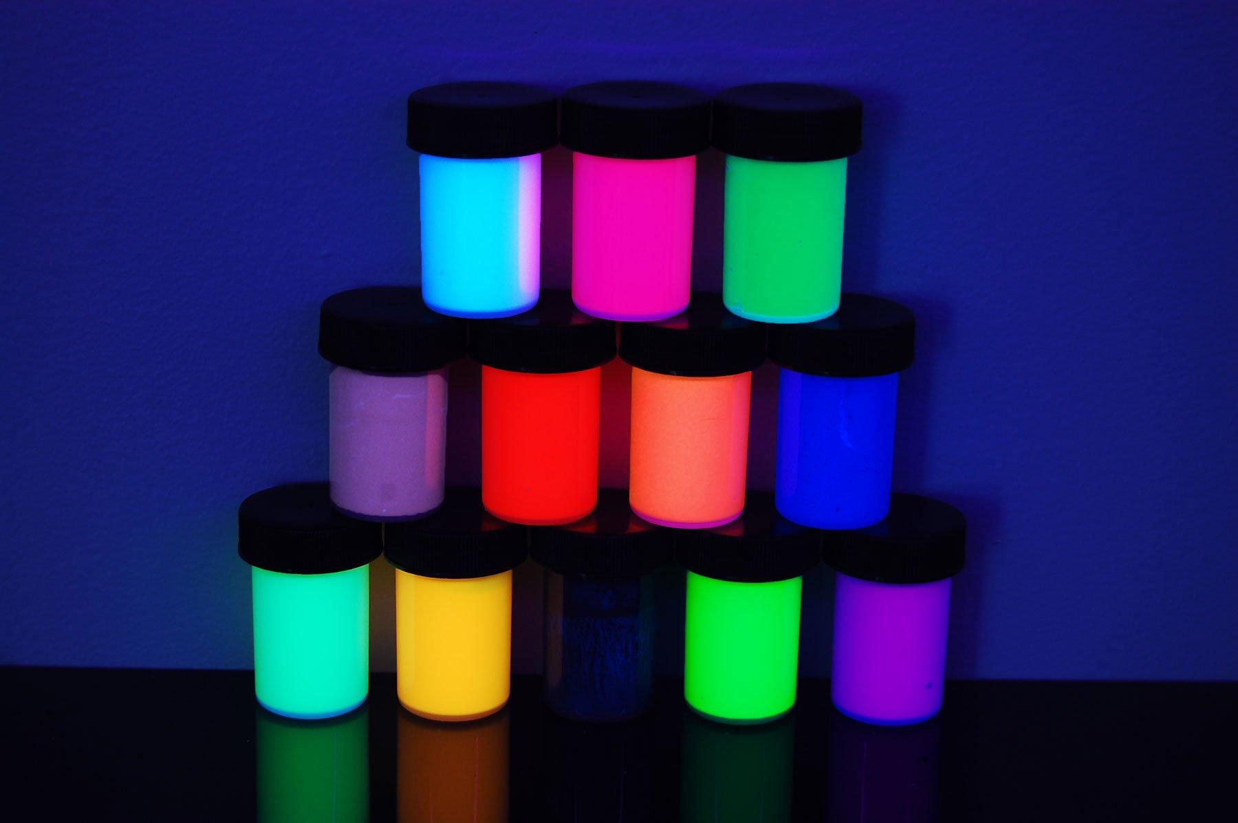 DirectGlow 3/4oz UV Blacklight Reactive Fluorescent Acrylic Paints (12 Color Assortment)