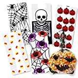 Halloween Cellophane Bags 150 Count, 6 Assorted Styles; Spiders, Pumpkins, Bats, Candy Corn, Skeleton and more…