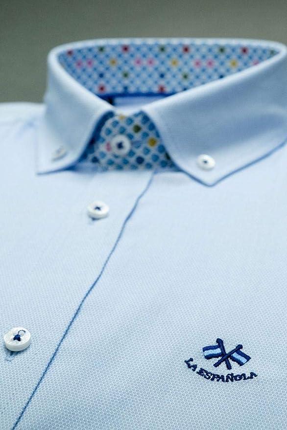 La Española Camisa Azul Celeste con Contraste Multicolor: Amazon.es: Ropa y accesorios