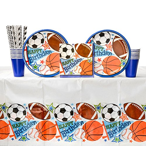 Cedar Crate Market Bundle: Sports Birthday Party Supplies Pack for 16 Guests: Straws, Dinner Plates, Luncheon Napkins, Table Cover, and Cups
