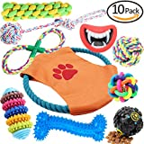 Hhusali Dog Toys 10 Pack Gift Set, Ball Rope and Chew Squeaky Toys for Medium to Small Doggie