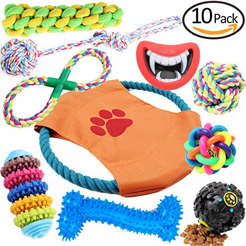 Hhusali-Dog-Toys-10-Pack-Gift-Set-Ball-Rope-and-Chew-Squeaky-Toys-for-Medium-to-Small-Doggie