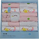 M&C Spring and autumn winter cotton baby gift sets£¨Clothes + bib + handkerchief + anti-scratch gloves + anti-grasping gloves£©-16Piece , pink
