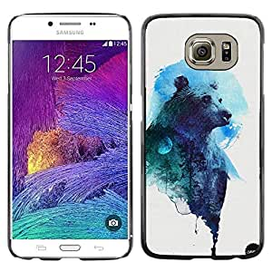 LECELL--Funda protectora / Cubierta / Piel For Samsung Galaxy S6 SM-G920 -- Art Drawing Watercolor Blue Grizzly --