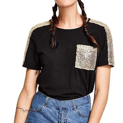 dce50eb612739a Sunhusing Ladies Sequin Embellished Stitching Short-Sleeve T-Shirt Casual Round  Neck Short Top