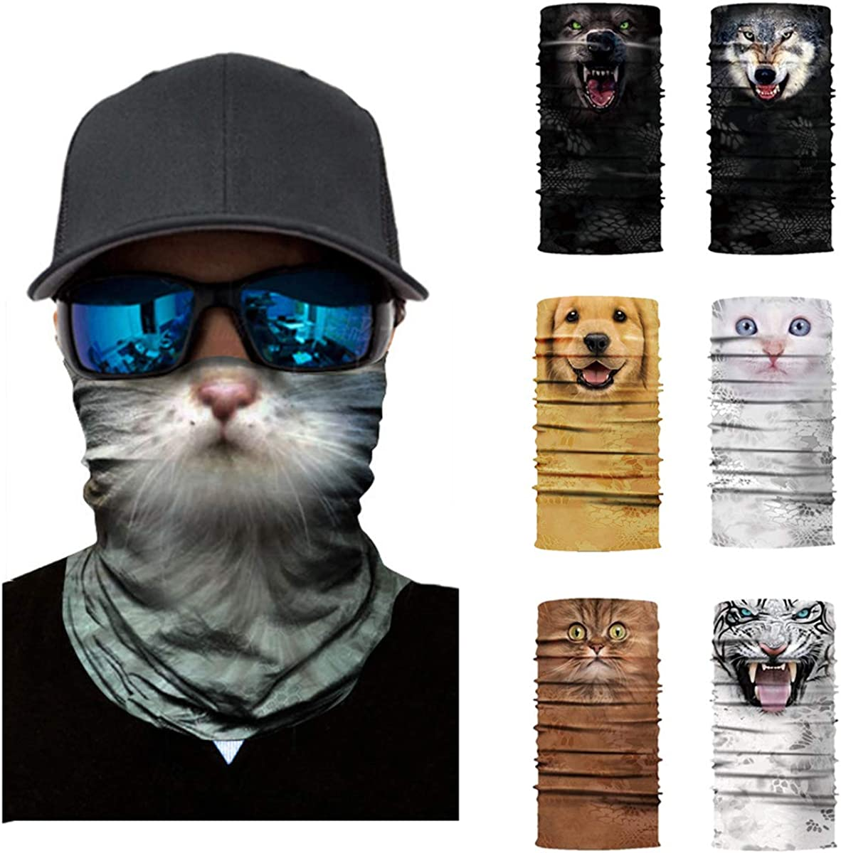 Fealay 3D Animal Neck Gaiter Scarf Bandana Face Mask Head Wrap Bandana Magic Scarf for Outdoor Cycling Fishing Camping Hiking