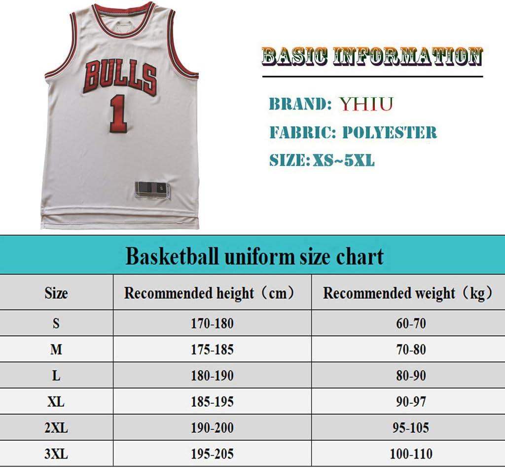 YHIU Herren Basketball Trikot Derrick Rose #1 Chicago Bulls Basketball Uniform Sommer Wei/ß farbe Material XXX-Large