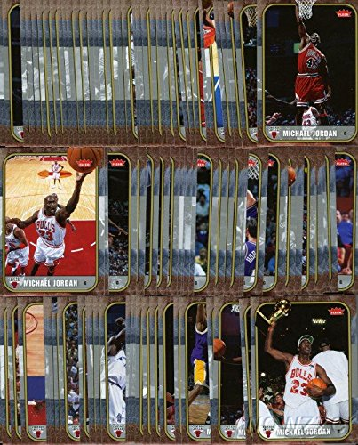 2007/08 Fleer Michael Jordan MASSIVE Complete 100 Card Career Set- All Cards Are in the Same Design of his Legendary 1986 Fleer ROOKIE Card ! All Cards are in MINT Condition!