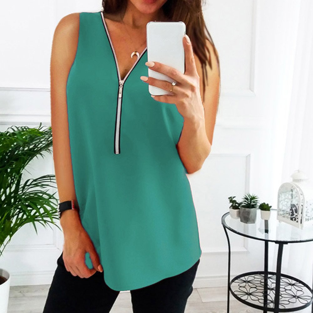 AgrinTol Women Zipper Tops Sleeveless Casual Vest Top Blouse Ladies Summer Loose T Shirts Top (L, Green)