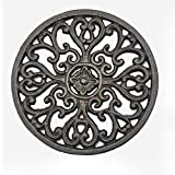 Cast Iron Trivet, Bestplus Tablemat Potholders with Rubber Legs Vintage Carving Flower for Kitchen or Dining Table Decor Round TF001