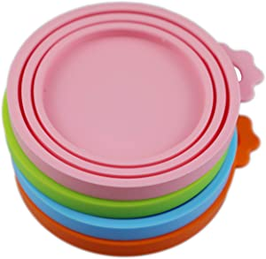 Lydia's Deal Pack of 4 Pet Can Covers. Universal BPA Free & Dishwasher Safe/Silicone Pet Food Can Lid Covers 4PC