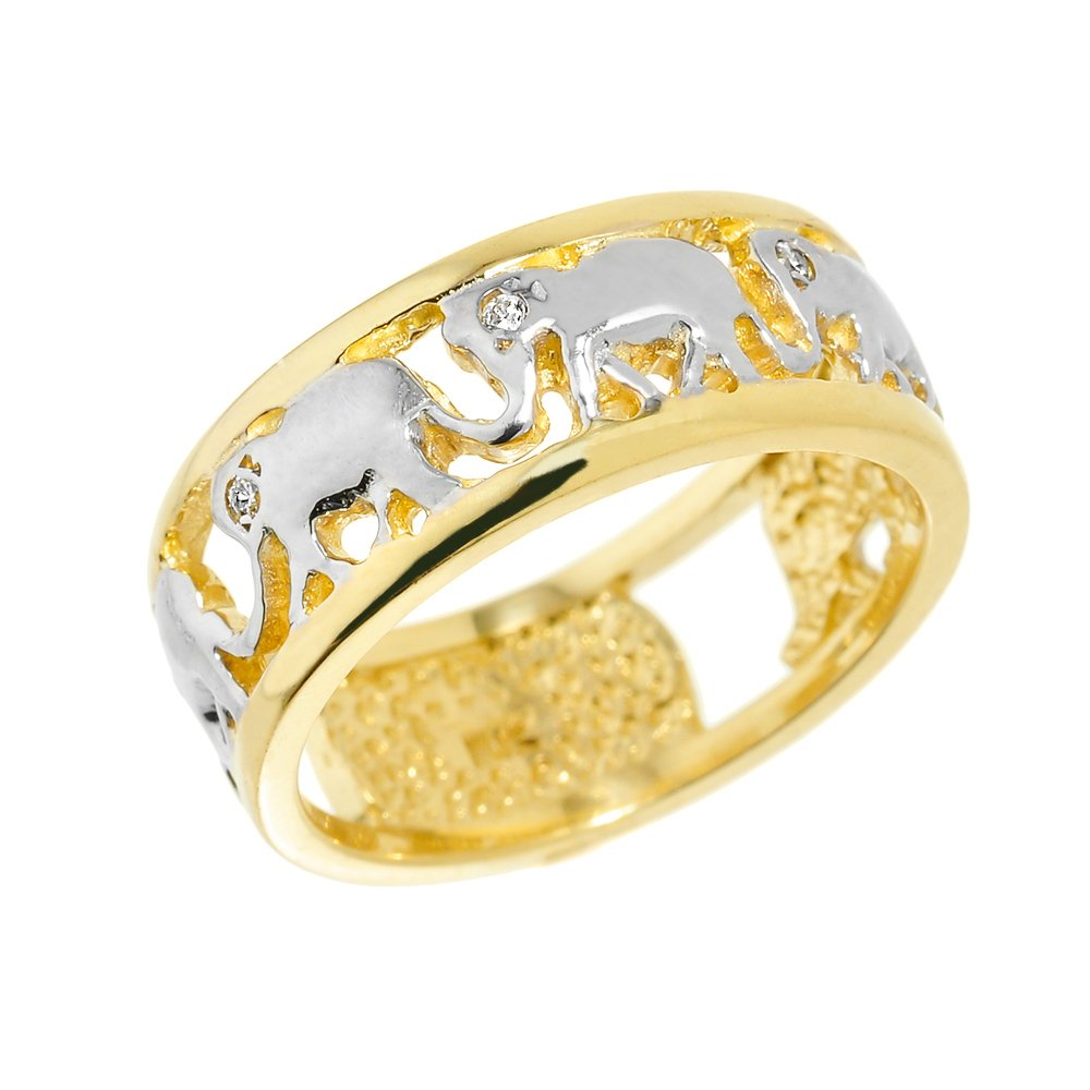 Fine 14k Two-Tone Gold Open Design Band Diamond Elephant March Ring (Size 8)