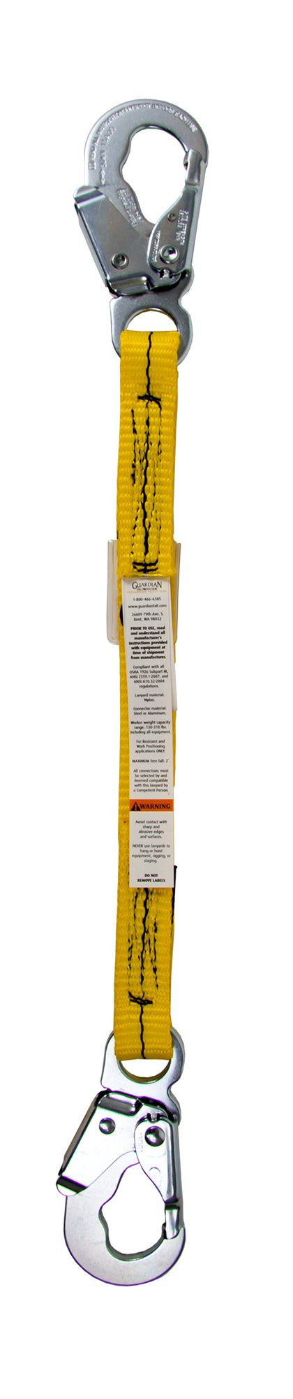 Guardian Fall Protection 01250 2-Foot Single Leg Non-Shock Absorbing Lanyard by Guardian Fall Protection