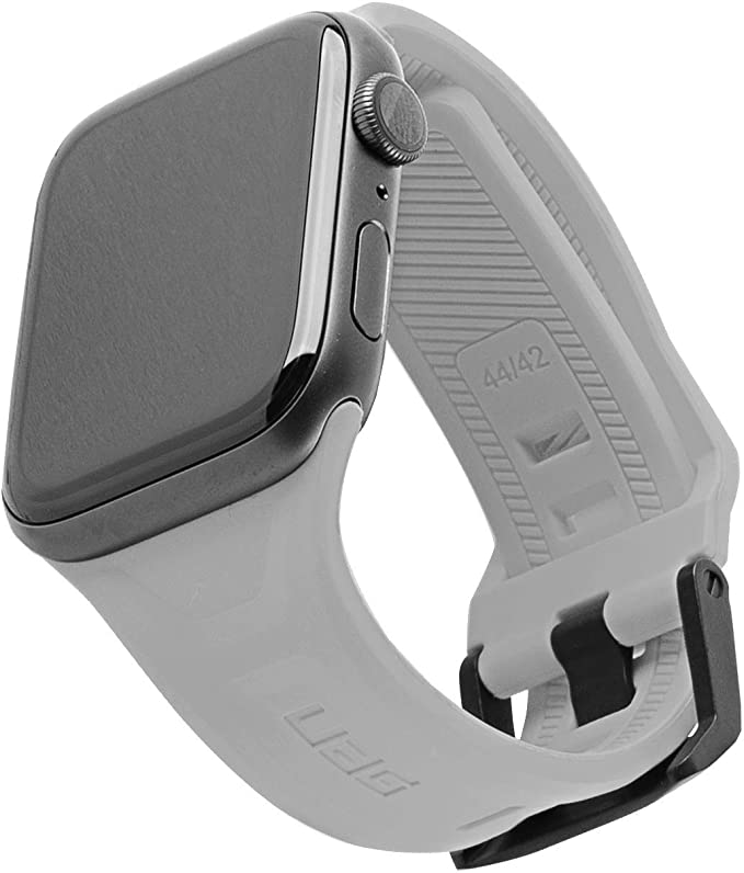 Urban Armor Gear Scout Armband Für Apple Watch 42mm 44mm Watch Se Series 6 Series 5 Series 4 Series 3 Series 2 Series 1 Weiches Silikon Ersatzband Edelstahl Verschluss Silber Elektronik