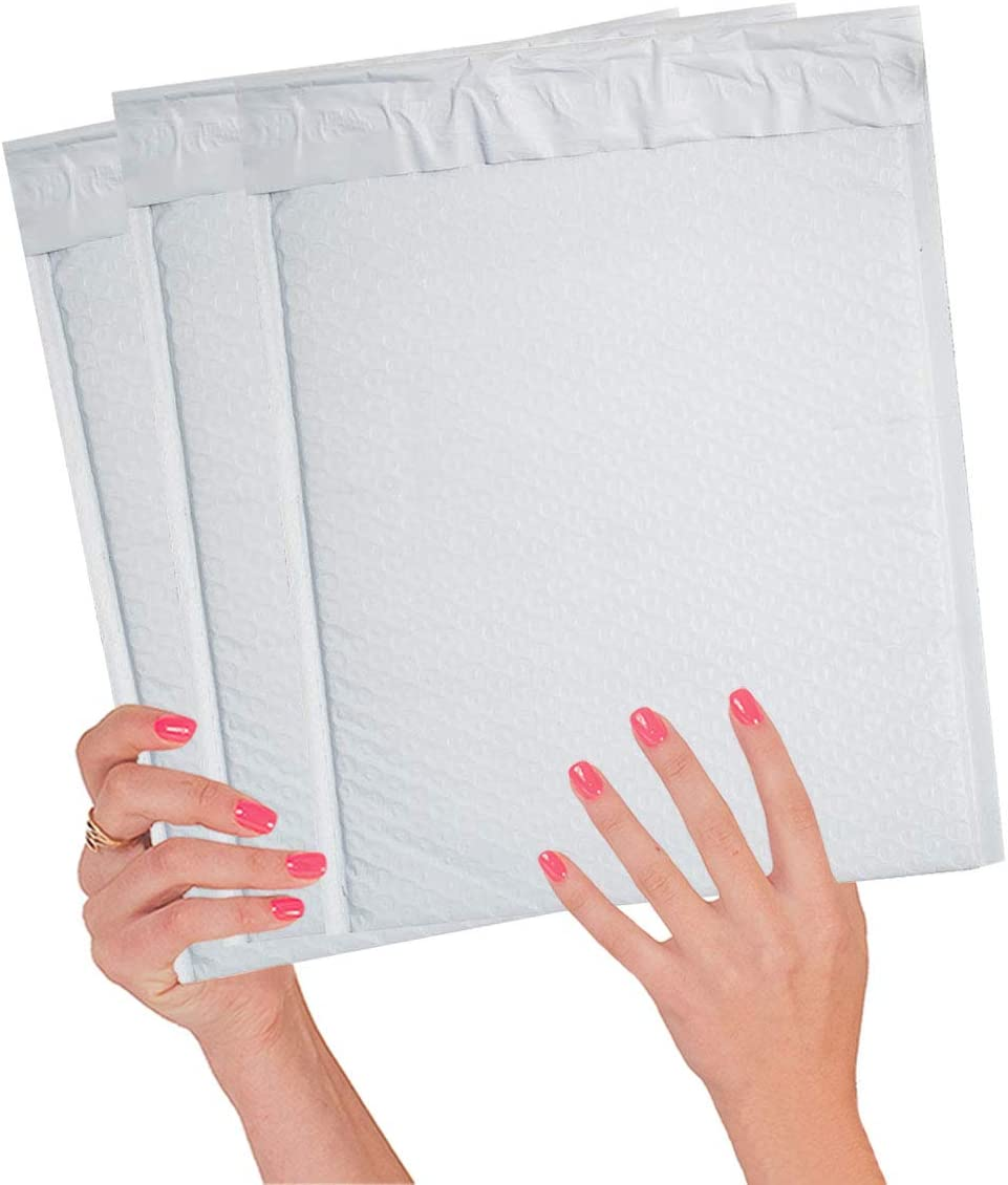 10 Pack Poly Bubble mailers 9.5 x 13. Padded envelopes 9.5x13 White Cushion envelopes Peal and Seal. Laminated Shipping Bags for mailing, Packing. Packaging in Bulk, Wholesale Price.