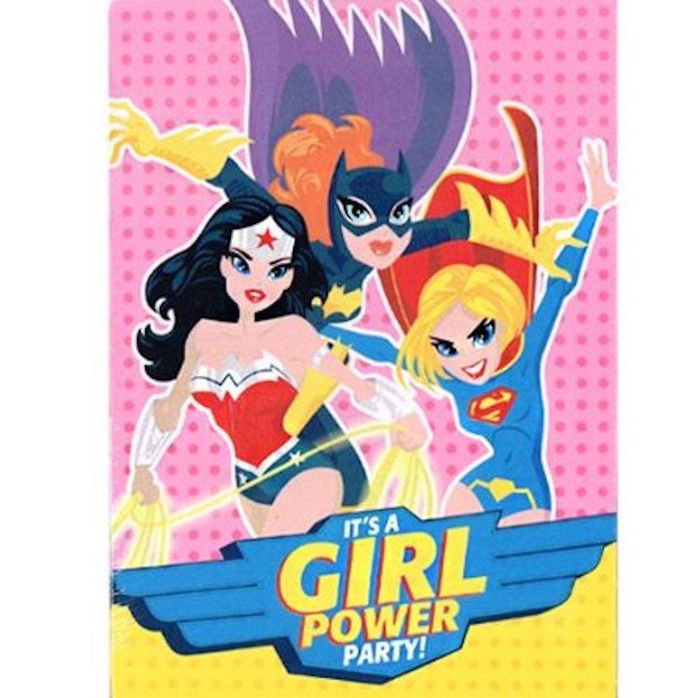 Amazon.com: (8) JUSTICE LEAGUE GIRLS INVITES & THANK YOUS Wonder ...