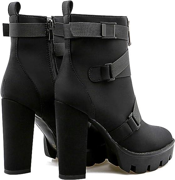 High Heel Platform Round Toe Fur Trim Buckle Strap Women Ankle Boots Warm Ske15