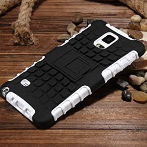 For Note 4 Fashion Slip Resistance Kickstand Back Case For Samsung Galaxy Note4 Dual Layer Cool Hard Armor Cover Cellphone Bags White-White