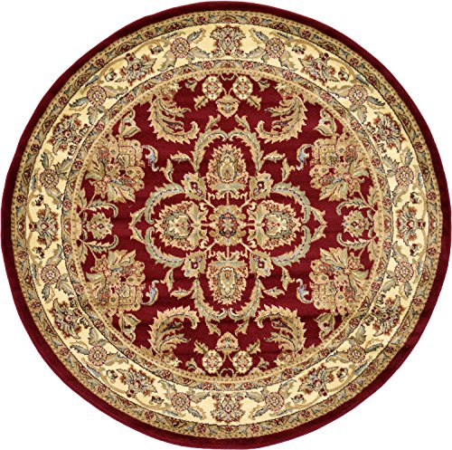 Unique Loom Voyage Collection Traditional Oriental Classic Red Round Rug (6' x ()