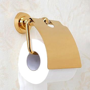 bbslt-porta toallas de latón, baño porta papel higiénico impermeable, bandeja dorado papel higiénico: Amazon.es: Hogar