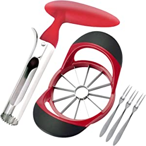 Battmin Apple Corer and Cutter Set, 12 Blade Apple Slicer Corer Cutter, Easy Grip Apple Core Remover for Home Kitchen, Includes 3 Premium Stainless Steel Fruit Forks
