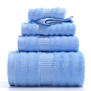 SYXLTSH Toalla de baño Fibra Ola Toalla Toalla Cuadrada Suave Cuatro Piezas Absorbente Set Azul: Amazon.es: Hogar