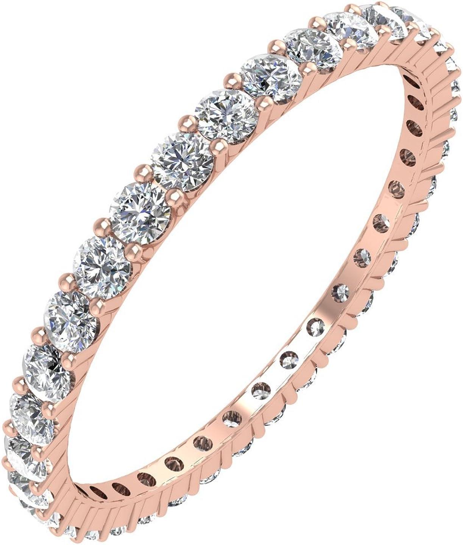 IGI Certified 14K Gold Prong Set Diamond Eternity Wedding/Anniversary Band Ring (1/2 Carat)