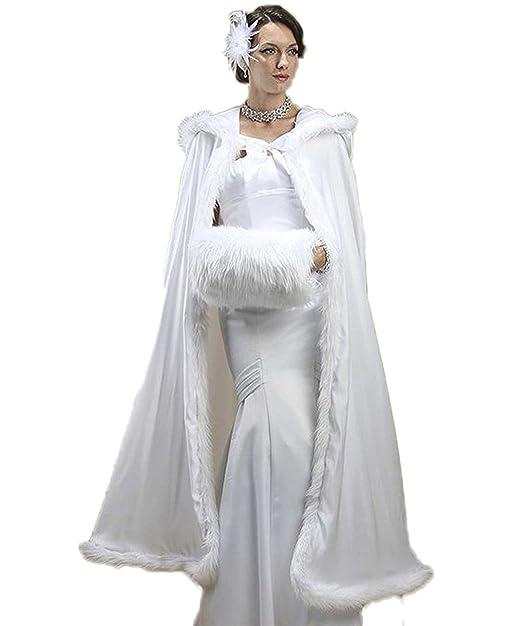 YoYodress Chaqueta Nupcial Abrigo de Piel de Invierno Cálido Chal Con Capucha Chal de Novia Abrigo