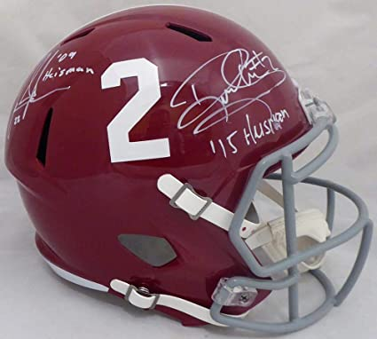 341e57f0e Derrick Henry   Mark Ingram Autographed Alabama Crimson Tide Full Size  Speed Replica Helmet quot Heisman quot