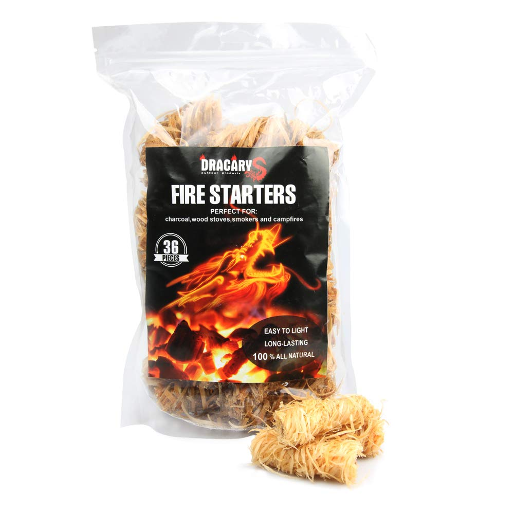 Dracarys 36 Pcs Charcoal Starter All Weather BBQ Camping Fire Starter All Natural Eco-Friendly Charcoal Star Pack Firelighter Firestarters for Weber Charcoal Grill Kamado Joe Big Green Egg Fire Pit