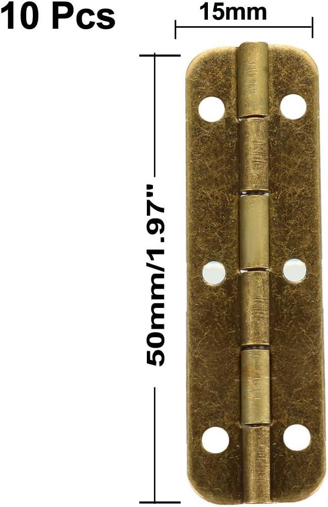 sourcing map 1.97 Antique Bronze Hinges Retro Hinge Replacement with Screws 10pcs