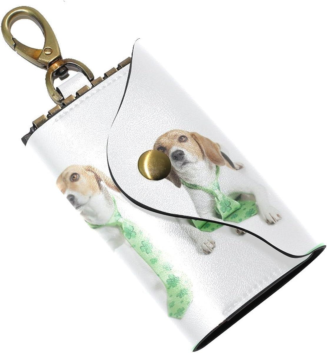 DEYYA Beaglestpatsad Leather Key Case Wallets Unisex Keychain Key Holder with 6 Hooks Snap Closure